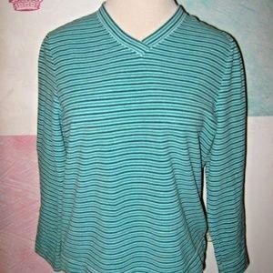 Green Stripe V Neck Fleece Plush Soft Pullover L